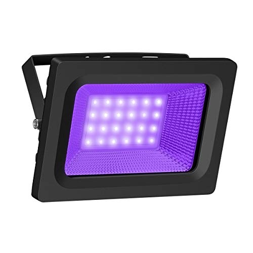 UV Black Light, Gianor 20W UV LED Flood Light Bulb Outdoor, IP66 Waterproof Disco Blacklights for Fishing/Aquarium/Curing, Body Paint, Fluorescent Poster, Neon Glow, Stage Lighting -