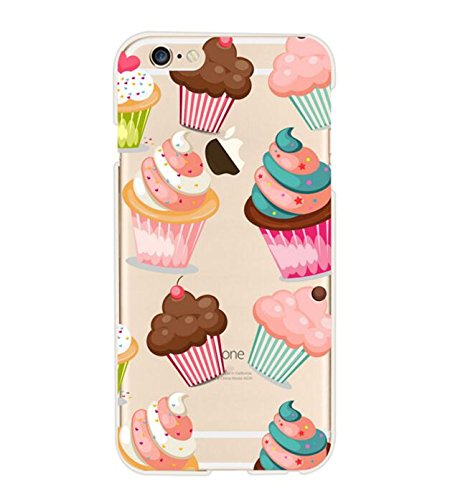 iPhone 8/iPhone 7 Case(4.7inch),Blingy's Creative Food Style Transparent Clear Flexible Soft Rubber TPU Case for iPhone 8/iPhone 7 (Cupcake)