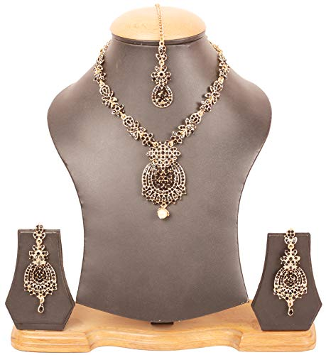 Touchstone Indian Bollywood Rhinestones Bridal Jewelry Necklace Set in Antique Gold Tone for Women