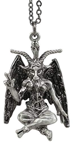 Ebros Gift Sabbatic Goat of Mendes Baphomet Satan with Pentagram Pewter Necklace Pendant with Chain Accessory Jewelry Occult of The Devil Witches Sabbath