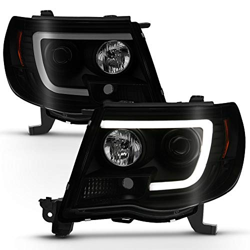 ACANII - For 2005-2011 Toyota Tacoma Pickup Black Smoked LED Tube Projector Headlights Headlamps Assembly Left+Right