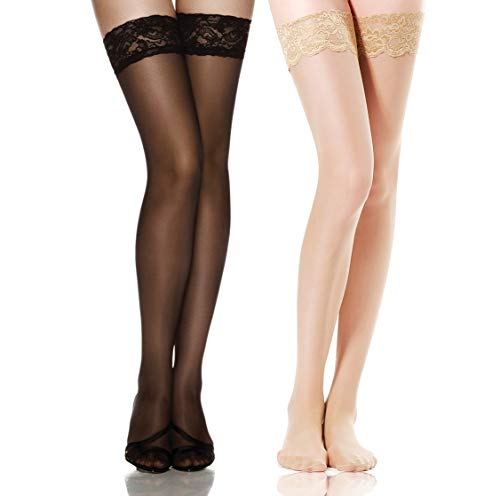 db81c0dc27f Thigh High Stockings Silicone Stay Up Tights Lace Top Semi Sheer Pantyhose  Update Size