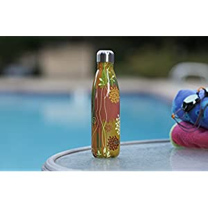 MIRA Vacuum Insulated Travel Water Bottle | Leak-proof Double Walled Stainless Steel Cola Shape Portable Water Bottle | No Sweating, Keeps Your Drink Hot & Cold | 17 Oz (500 ml) (Yellow Vine)