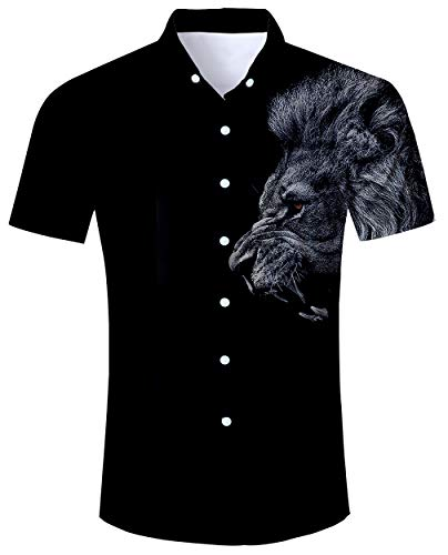 (ALISISTER Aloha Hawaiian Shirt Mens Beach Shirts 3D Animal Button End Blouses Holiday Bathing Outfit Short Sleeve Black Collar Apparel XL)