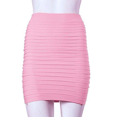 Jupe Kolylong Taille Haute Jupe Femme Courte Serr lastique Sexy Rose Tenue D'affaires 1PC Crayon Pliss FRfqWdfn