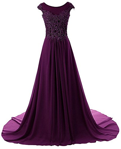 Prom Dresses Long Formal Evening Gowns Lace Bridesmaid Dress Chiffon Prom Dress Cap Sleeve Grape US16W