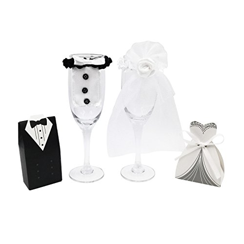 Kalevel 102pcs Wedding Favors Candy Box Tuxedo Dress Champagne Glass Cover Favor Boxes with Ribbon Bride and Groom Wine Covers Candy Gift Boxes