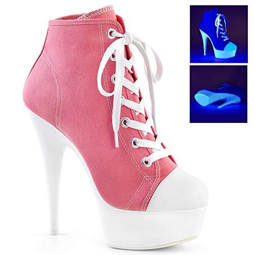 Pleaser Women's DELIGHT-600SK-02 Sandal, Pink Canvas/neon White, 8 M US ()