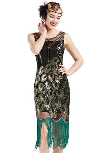 BABEYOND 20's Vintage Peacock Sequin Fringed Party Flapper Dress (Small, Black with Green Fringe-2) -
