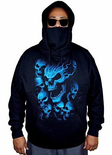 Men's Blue Flaming Skull Ghost Black Mask Hoodie Sweater 2X-Large Black]()