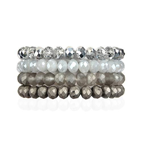 RIAH FASHION Bohemian Multi-Layer Beaded Stacking Bracelets - Versatile Stretch Strand Sparkly Crystal Beads Statement Wrap Slip-on Cuff Bangle Set (Sparkly Mix - Gray)