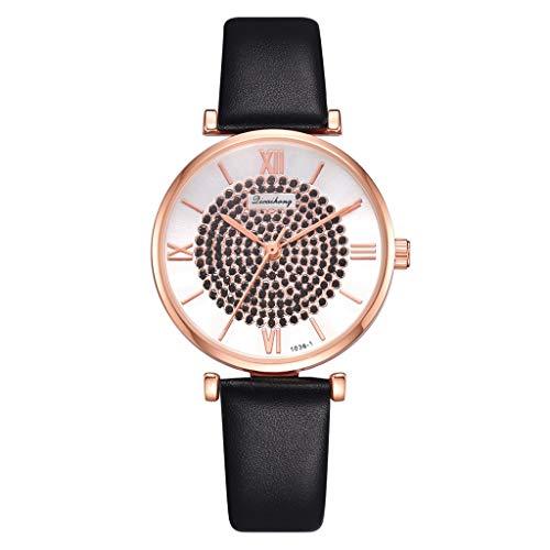 LUXISDE Watch Women Fashion Circle Brick Stone Dial Roman Digital Scale Belt Quartz Female Watch ()