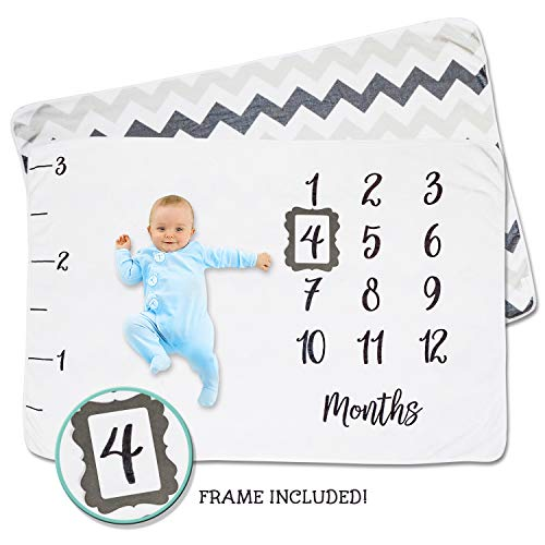 Growing Hearts Newborn Baby Milestone Month Blanket – Monthly Personalized Photo Prop Background for First Year Growth – Large, Double Sided & Ultra Soft Photography Backdrop Mat for Boy or Girl