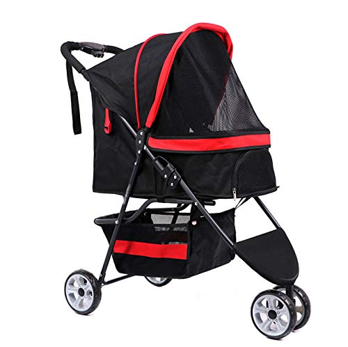 Red Dog Out Cart Pet Stroller Cat Three-Wheeled Cart A Key to Close The Car (color   Red)