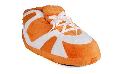 3148-4 - Orange and White - XL - Happy Feet Sneaker Slippers