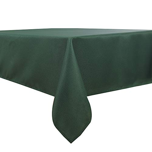 Biscaynebay Textured Fabric Tablecloths, Water Resistant Spill Proof Tablecloths for Dining, Kitchen, Wedding and Parties, Hunter Green 54 by 54 Inches Square