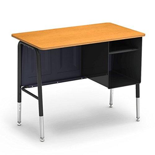 Virco Executive Desk, 20 x 34 inches, Black Desk Frame, Maple Surface