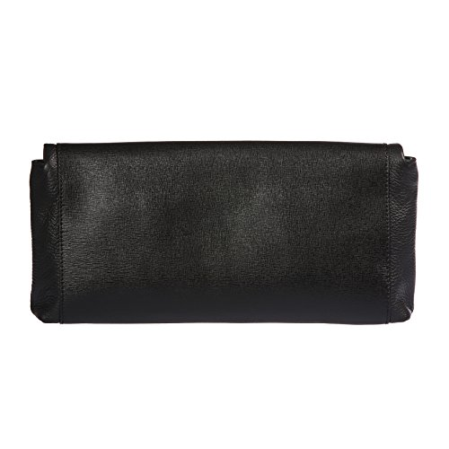 Shoulder Cm With Genuine Strap Saffiano Trussardi Leather 34x16x6 Metallic Small Black Woman Calf Clutch 100 Handbag Hq6IY