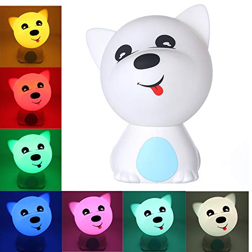 Puppy Dog Night Light for Kids, Baby - Childrens Nursery Lamp with Multicolor Touch - Cool Decorative Bedroom Accessory ()