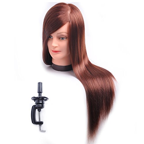 Hairdresser Training Head Manikin Cosmetology Mannequin Doll Synthetic Fiber Hair (Table Clamp Holder Included) SC3318P