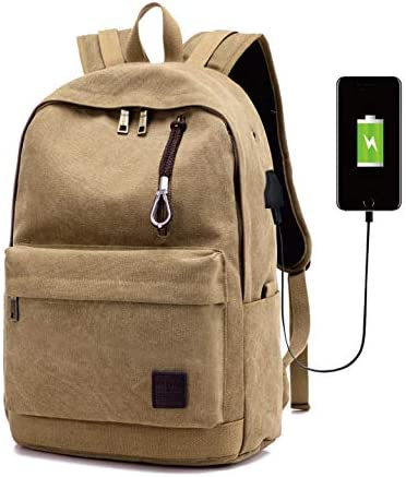 15.6 inch Anti-theft Laptop Backpack With USB Charging Port for Men Women Brown