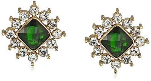 - 1928 Jewelry Gold-Tone Green Stone and Crystal Button Stud Earrings