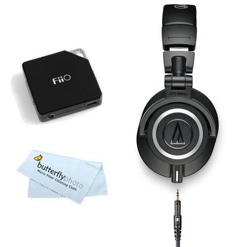 Audio-Technica ATH-M50x Professional Studio Monitor Headphones - Black with FiiO E6 Headphone Amplifier
