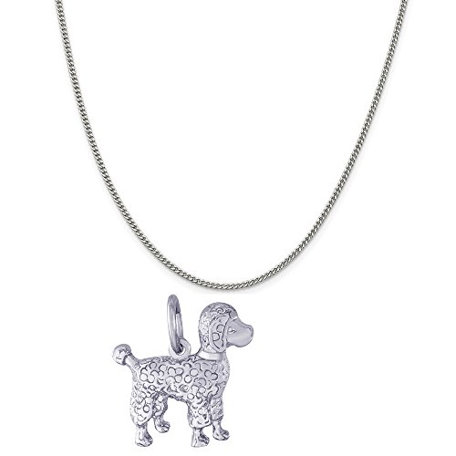 Rembrandt Charms 14K White Gold Poodle Dog Charm on a 14K White Gold Curb Chain Necklace, 20
