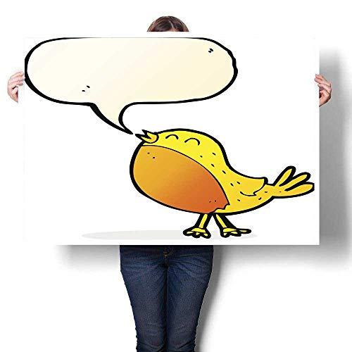 Anyangeight Digitally Printed Cartoon Singing Bird with Speech Bubble Decorative Fine Art Canvas Print Poster K 48