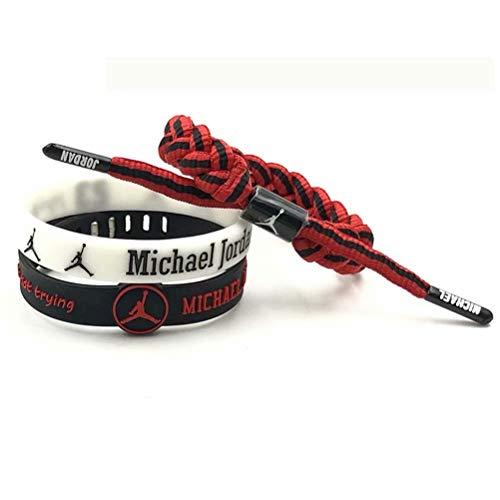 Partypeople Basketball Bracelet Wristband Hand Knitted Adjustable Luminous Bracelet 3Packs for Sports Fans Men - Jordan Wristband