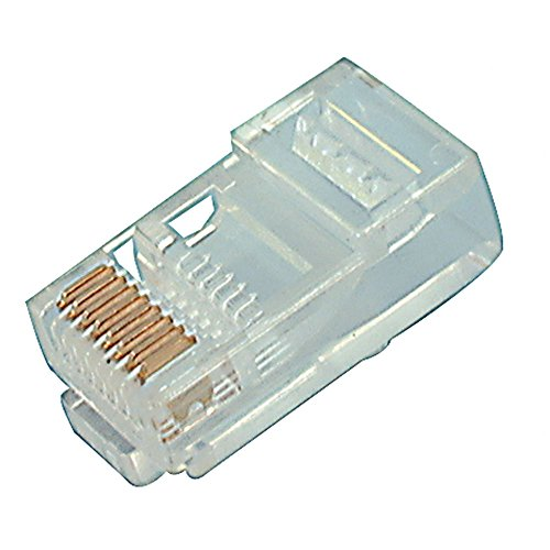 Steren 300-068-VP Modular Plug, 8 Position, Crimp, Straight, Cable Mount, 8 Terminal, 1 Port, 0.85