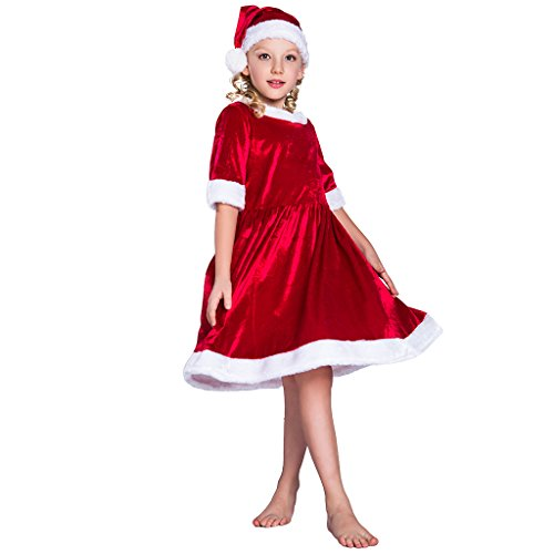EraSpooky Girls Christmas Santa Claus Costume Dress Suit(Red, Large-(150cm)) (Santa Claus Costume For Girl)