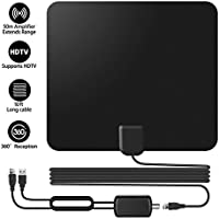 Bamshoot TV Antenna 50-100 Miles Long Range Digital HDTV Antenna High Reception Amplifier TV Indoor Antenna Clear TV Best Indoor Antenna for TV with 16ft Cable USB TV Tuner - Black