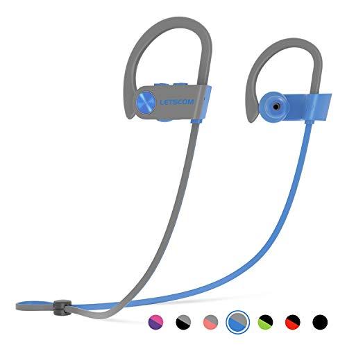 LETSCOM Bluetooth Headphones IPX7 Waterproof, Wireless Sport Earphones Bluetooth 4.1, HiFi Bass Stereo Sweatproof Earbuds w/Mic, Noise Cancelling Headset Workout, Running, Gym, 8 Hours Play ()