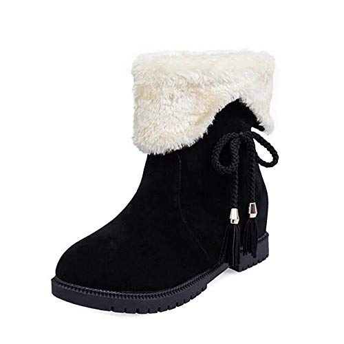 Fitfulvan Women Snow Boots Winter Ankle Boots Shoes Heels Winter Fashion Shoes (Black,5.5)