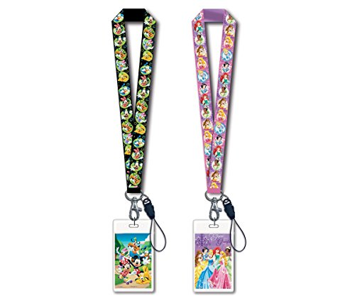 Mozlly Value Pack - Disney Mickey Mouse and Friends Black Lanyard with Card Holder and Princesses Lanyard with Card Holder - 18 inches - Novelty Character Accessories (2 Items) - ()