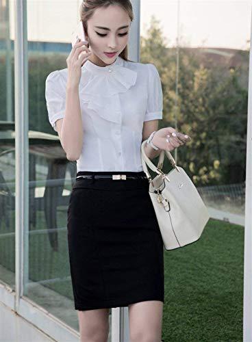 Chemise Fashion Shirt Chemisiers Slim Affaires Et Rond Costume Unicolore Volants Chic Femme Col Courtes Chemise Manches Blouse Simple Boutonnage Elgante Blanc Fit Tops avec AqXwRW4ax