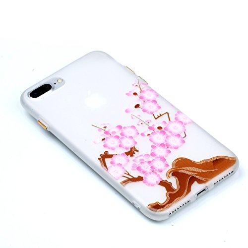 Voguecase Für Apple iPhone 7 Plus 5.5 hülle, Schutzhülle / Case / Cover / Hülle / TPU Gel Skin mit Nachtleuchtende Funktion (Pflaumen 20) + Gratis Universal Eingabestift