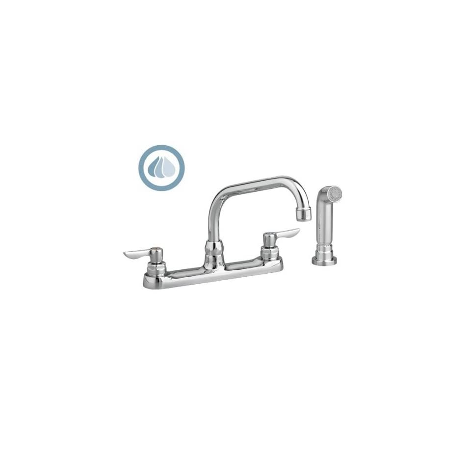 American Standard 6408.141.002 Monterrey Top Mount 1.5 Gpm Gooseneck Kitchen Faucet with VR Metal Lever Handles and Color Matched Side Spray, Polished Chrome