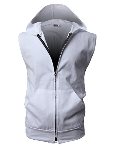 H2H Men's Casual Hooded Sleeveless Tank Tops Cotton Sleeveless T-shirts WHITE Asia XXXL (JPSK13_N25) by H2H (Image #2)