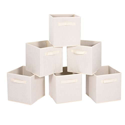 MaidMAX Cloth Storage Cubes Bins Baskets Containers with Dual Handles for Home Closet Nursery Drawers Organizers, Flodable, Beige, Set of 6