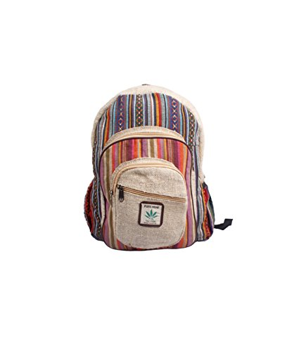 Maha Bodhi All Natural Handmade Large Multi Pocket Hemp Backpack