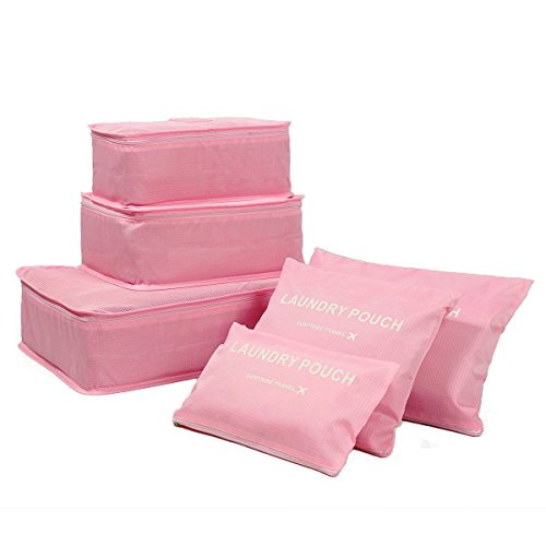 Garment Bag Valet (6PCS Waterproof Clothes Travel Storage Bags Packing Cube Luggage Organizer Pouch (PINK))