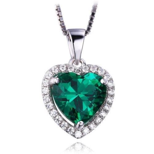 khamchanot Heart Shape 925 Silver Filled Pendants Bridal Jewels Emerald Quartz Green Zircon