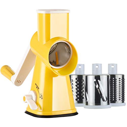 Valuetools Manual Rotary Cheese Grater - Round Mandoline Slicer Cheese Shredder Vegetable Slicer with Strong Suction Base (E-book recipe) ()