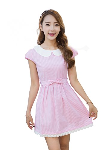 [TULIPTREND Women's Fresh Doll Collar Short Sleeve Dress Pink US Large/Asian X-Large] (Grady Twins Costume)