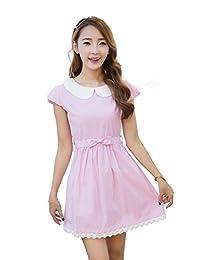 TULIPTREND Women's Fresh Doll Collar Short Sleeve Dress