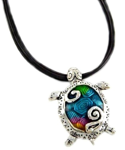 DianaL Boutique Sea Turtle Large Pendant Necklace Enameled Hand Painted