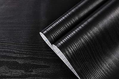 "Tokuwell Self-Adhesive Black Wood Vinyl Wrap Film Wallpaper Decor Wallpaper Peel and Stick 17.71"" x 78"" per Roll"