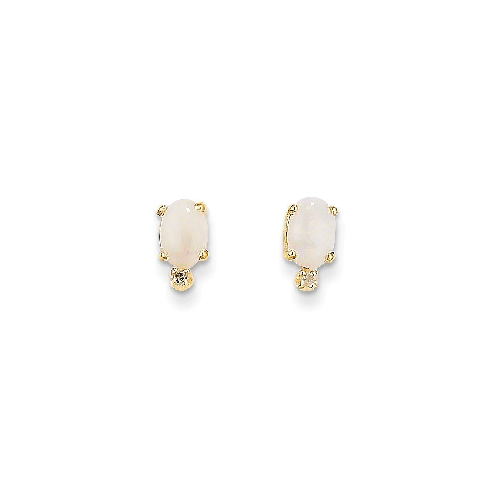 4a3b876d4 Amazon.com: 14k Yellow Gold Polished Post Earrings Diamond and Simulated  Opal Earrings: Stud Earrings: Jewelry